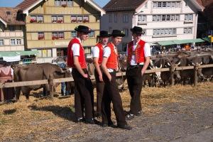 Junge Appenzeller in der Bauerntracht an der Viehschau Hundwil